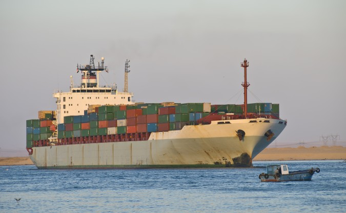 Transport ship passing through the Suez Canal in Egypt