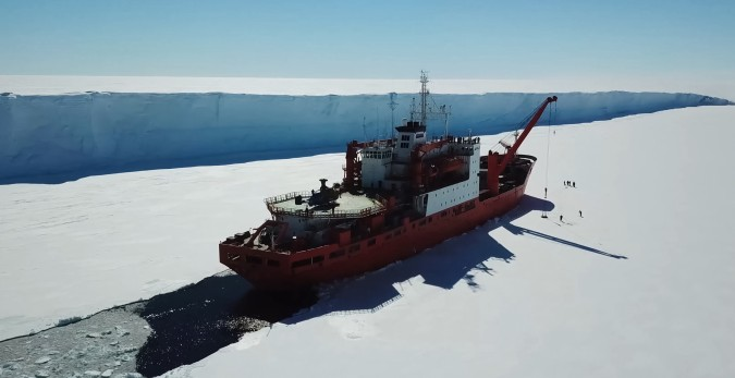 Ice breaking ship clears a path
