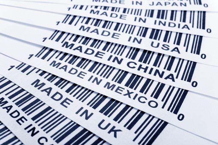 Bar codes indicating items made in Japan, India, USA, China, Mexico and the UK