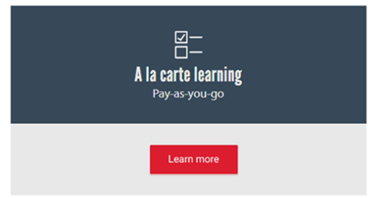 A la carte learning graphic