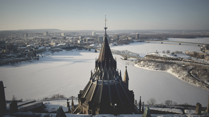 Skyline of the Canadian city of Ottawa during winter
