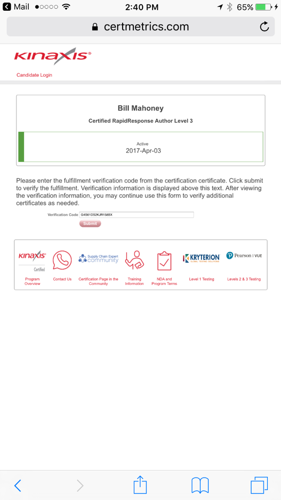 example of a certificate verification link on a mobile screen